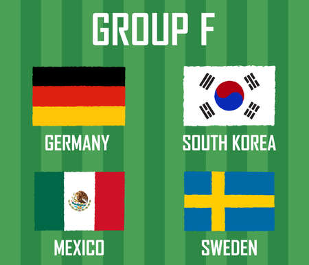 Soccer cup team group F. International Country Flags Grunge Style.