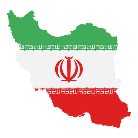 Map of Iran with Flag. Hand Painted with Brush. Vector Illustration. 矢量图像