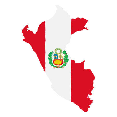 Map of Peru with Flag. Hand Painted with Brush. Vector Illustration.