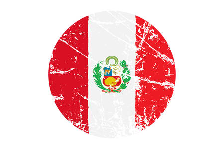 Flag of Peru Grunge Style. Hand Painted with Brush. Vector Illustration.