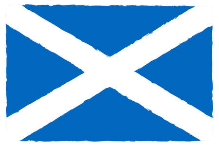 Flag of Scotland. Hand Painted with Brush. Vector Illustration.