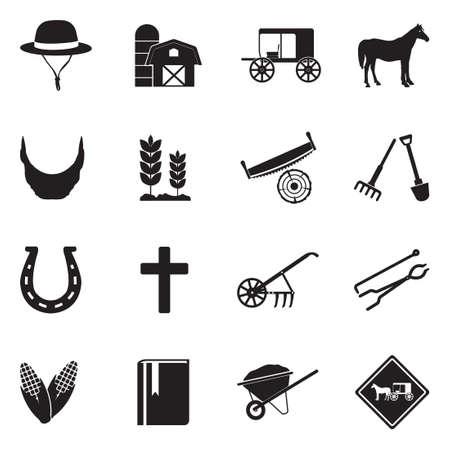 Amish Icons. Black Flat Design. Vector Illustration. Vektorové ilustrace