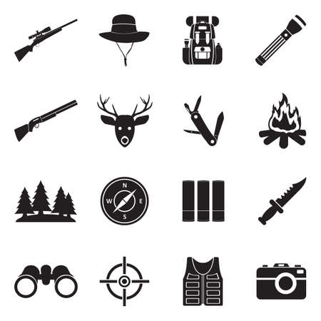 Hunting Icons. Black Flat Design. Vector Illustration.
