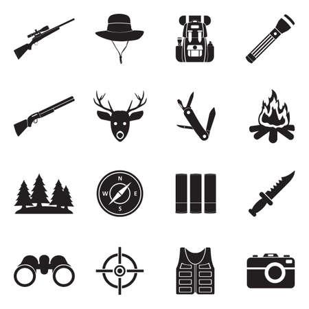 Hunting Icons. Black Flat Design. Vector Illustration.