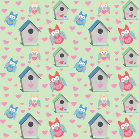 Owls and bird houses pattern