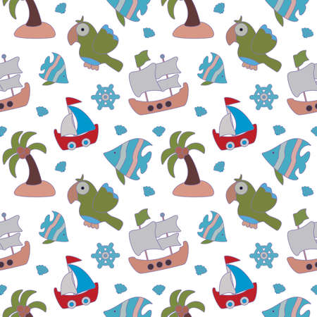 Sea seamless pattern for kids. Beautiful pirate background with ship, parrot, seashell, palm tree and ships wheel. Vector illustration on white background.