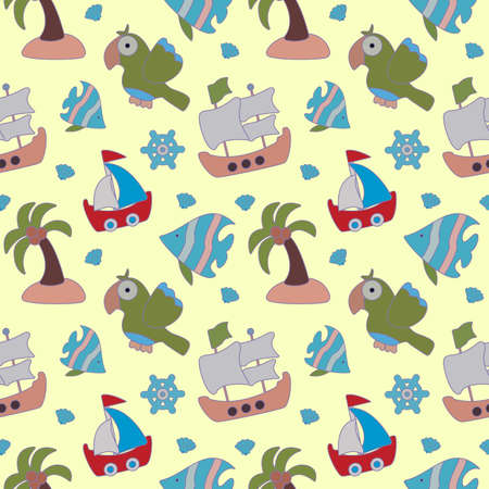 Sea seamless pattern for kids. Beautiful pirate background with ship, parrot, seashell, palm tree and ships wheel. Vector illustration on yellow background. Vectores