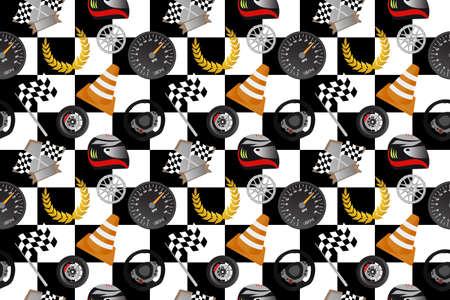 Racing seamless pattern. Fun checkered background with helmet, trophy, flag, wheel, rim, cone, speedometer, steering wheel and laurel wreath. Vector illustration. Imagens - 106211230