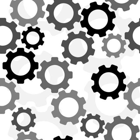 Gears seamless pattern. Background with gears for posters, postcards, fabric or wrapping paper. Vector illustration.