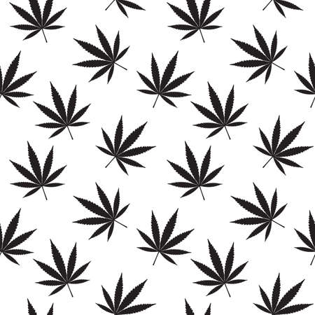 Marijuana Seamless Pattern. Black Marijuana Leaves On White Background. Vector Illustration.