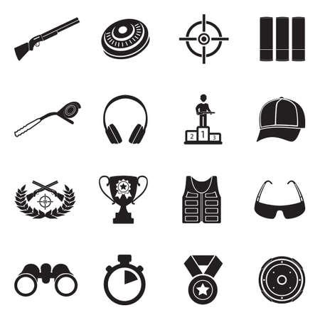 Iconos de tiro al plato. Diseño plano negro. Ilustración de vector.