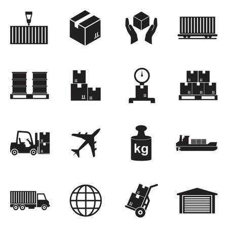 Cargo Icons. Black Flat Design. Vector Illustration.