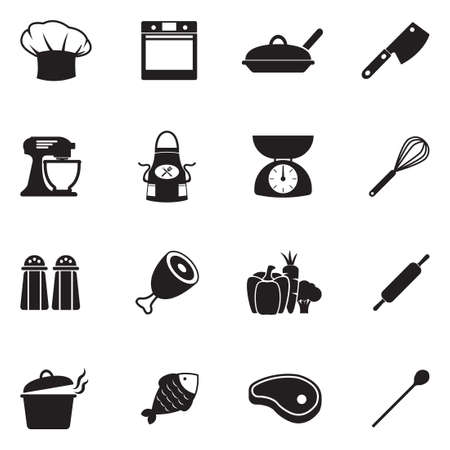 Chef And Cooking Icons. Black Flat Design. Vector Illustration.