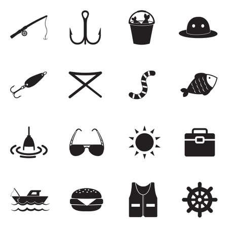 Fishing Icons. Black Flat Design. Vector Illustration. Çizim