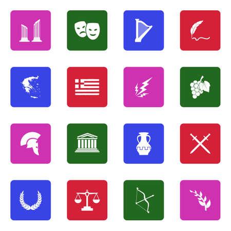 Iconos de Grecia. Diseño plano blanco en la plaza. Ilustración de vector.