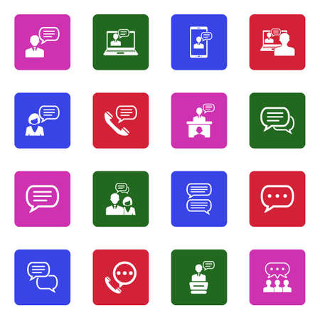 Message And Chat Icons. White Flat Design In Square. Vector Illustration.
