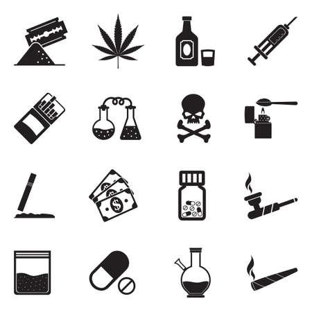 Drugs Icons. Black Flat Design. Vector Illustration. Illustration