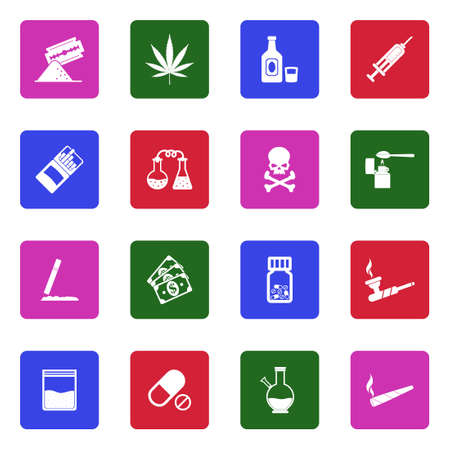 Drugs Icons. White Flat Design In Square. Vector Illustration.