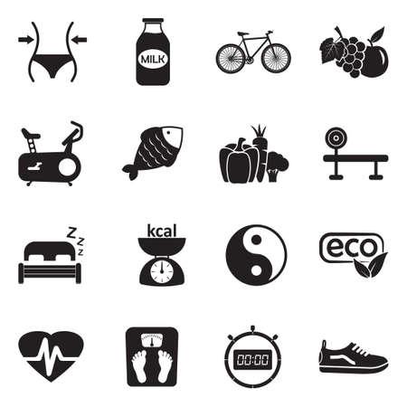 Healthy Icons. Black Flat Design. Vector Illustration.