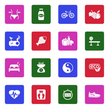 Healthy Icons. White Flat Design In Square. Vector Illustration.