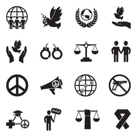 Human Rights Icons. Black Flat Design. Vector Illustration.