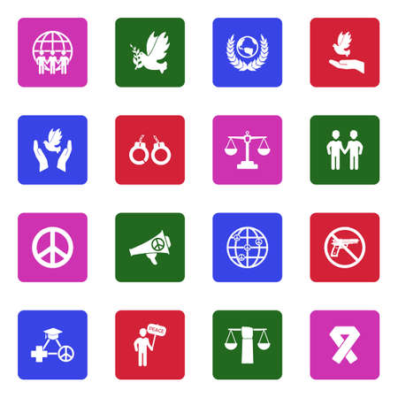 Human Rights Icons. White Flat Design In Square.