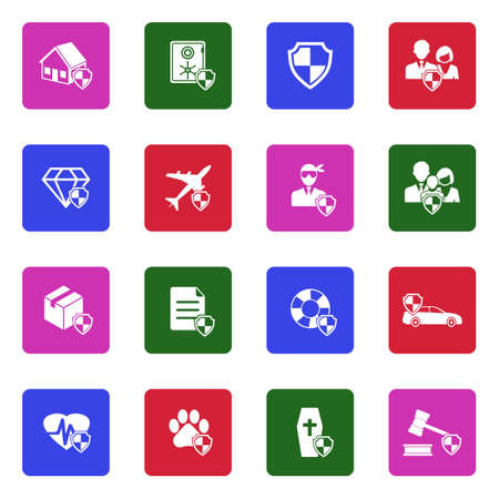 Insurance Icons. White Flat Design In Square. Vector Illustration.