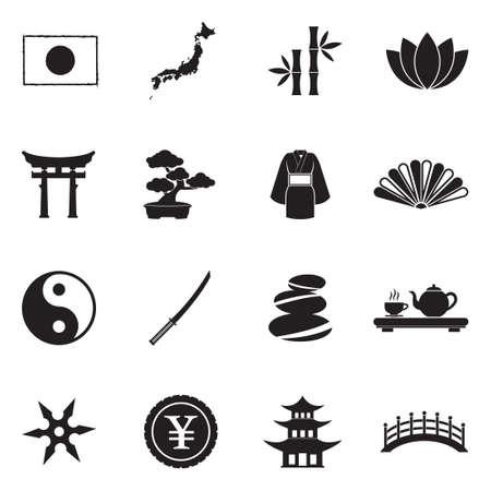 Japanese Culture Icons. Black Flat Design. Vector Illustration. Illustration