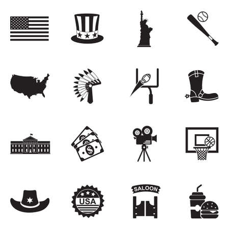 American Culture Icons. Black Flat Design. Vector Illustration.