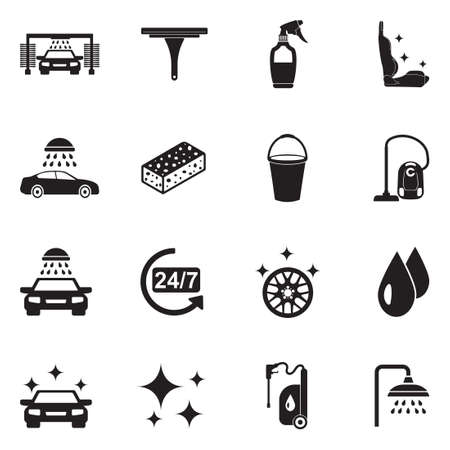 Car Wash Icons. Black Flat Design. Vector Illustration.