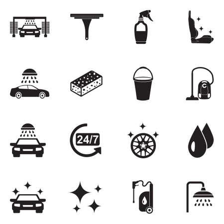 Iconos de lavado de coches. Diseño plano negro. Ilustración de vector.