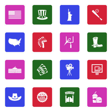 American Culture Icons. White Flat Design In Square. Vector Illustration.