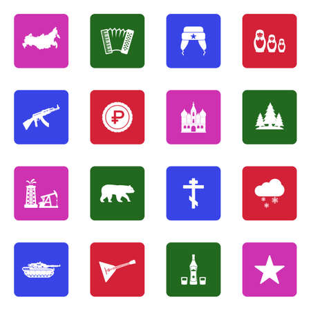 Russian Culture Icons. White Flat Design In Square. Vector Illustration.