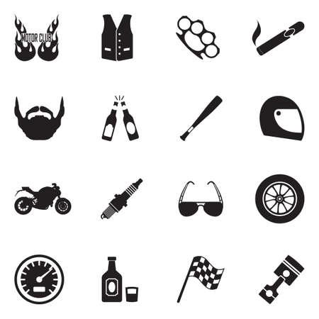 Motorcycle Gang Icons. Black Flat Design. Vector Illustration. Vettoriali
