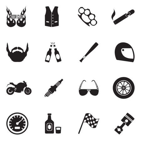 Motorcycle Gang Icons. Black Flat Design. Vector Illustration. 向量圖像