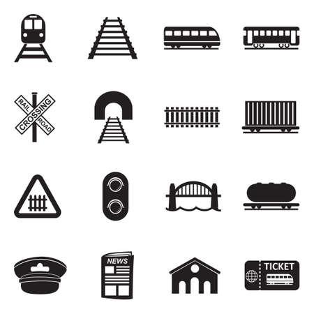 Ikony kolejowe. Czarna płaska konstrukcja. Ilustracji wektorowych.