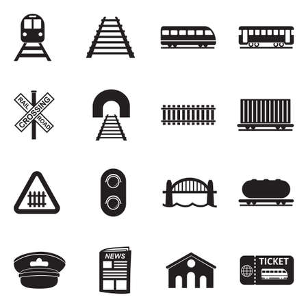 Railroad Icons. Black Flat Design. Vector Illustration. Çizim