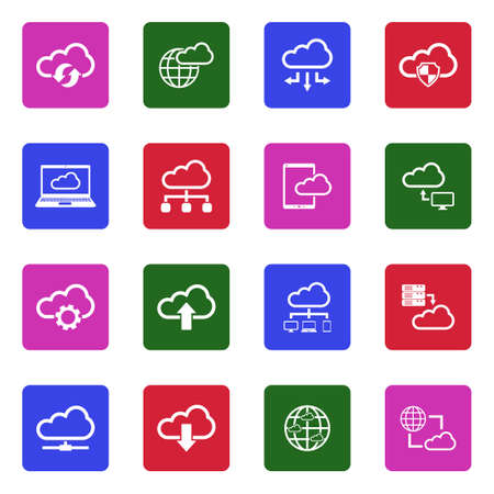 Cloud Computing Icons. White Flat Design In Square.