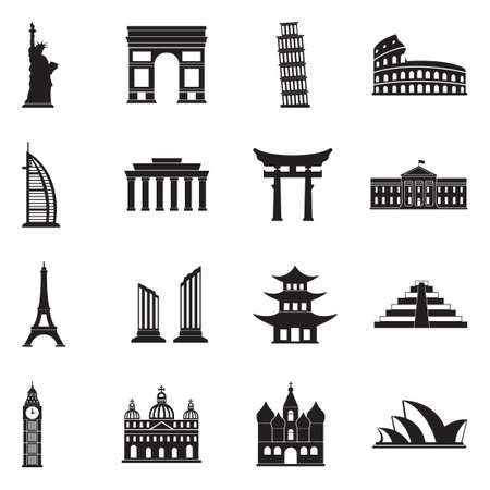 Landmarks Of The World Icons. Black Flat Design. Vector Illustration. Ilustração