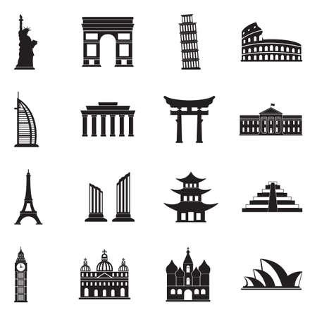 Landmarks Of The World Icons. Black Flat Design. Vector Illustration. Vettoriali