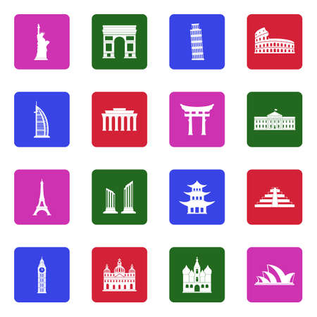 Landmarks Of The World Icons. White Flat Design In Square. Vector Illustration.