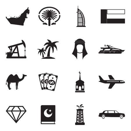 United Arab Emirates Icons. Black Flat Design. Vector Illustration.