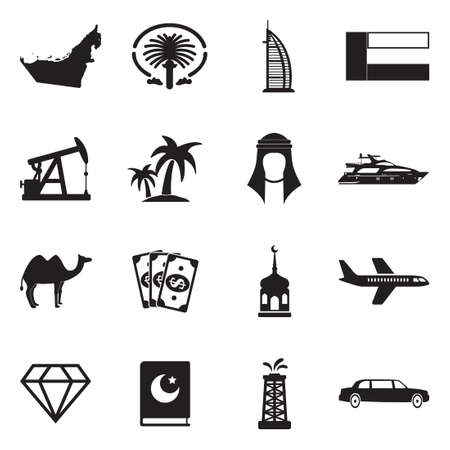 United Arab Emirates Icons. Black Flat Design. Vector Illustration.