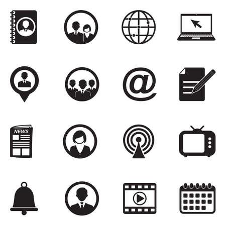 Media And Communication Icons. Black Flat Design. Vector Illustration.