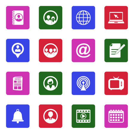 Media And Communication Icons. White Flat Design In Square. Vector Illustration.