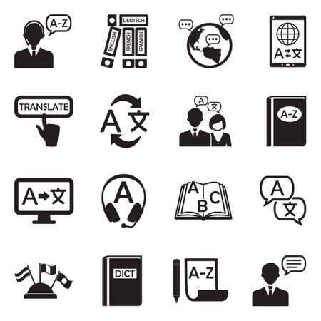Translation And Dictionary Icons. Black Flat Design. Vector Illustration. Ilustração