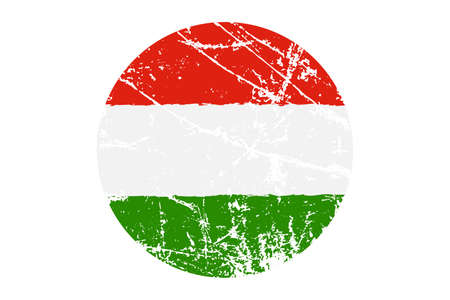 Flag of Hungary Grunge Style. Hand Painted with Brush. Vector Illustration.