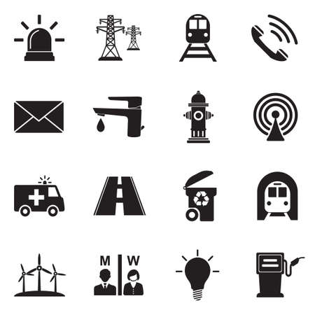 Public Utility Icons. Black Flat Design. Vector Illustration.