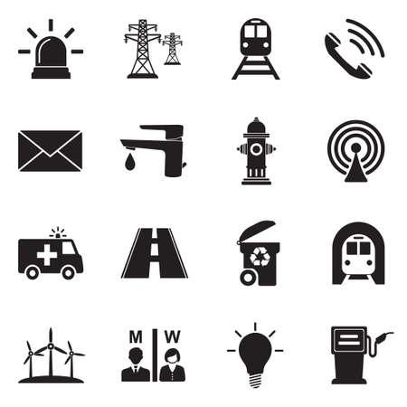 Icone di utilità pubblica. Design piatto nero. Illustrazione vettoriale. Vettoriali