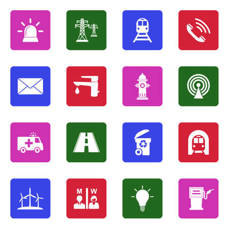 Public Utility Icons. White Flat Design In Square. Vector Illustration. Vektoros illusztráció
